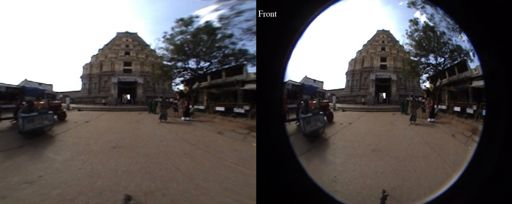 Dewarped image on the left and input circular fisheye image on the right.